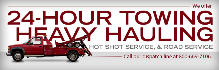 We offer 24-hour towing, heavy hauling, hot shot service, and road service! Click here to contact us.