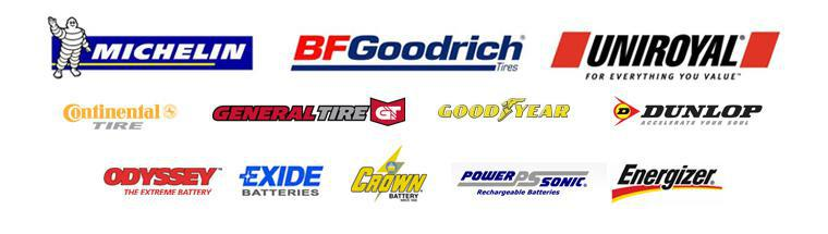 We carry products by Michelin®, BFGoodrich®, Uniroyal®, Continental, General, Goodyear, Dunlop, Odyssey Battery, Exide Batteries, Crown Battery, Power-sonic Battery, and Energizer Battery.