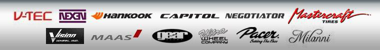 We proudly carry products by Hankook, Capitol, Negotiator, Mastercraft, Nexen, Maas, Gear, Ultra, Milanni, Vision, V-Tec, and Pacer.