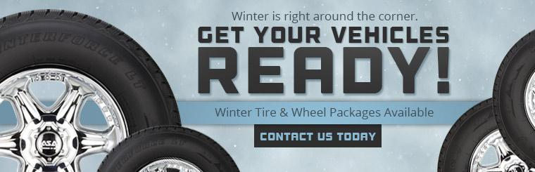 Get your vehicles ready for winter! Winter tire and wheel packages are available. Contact us for more information.