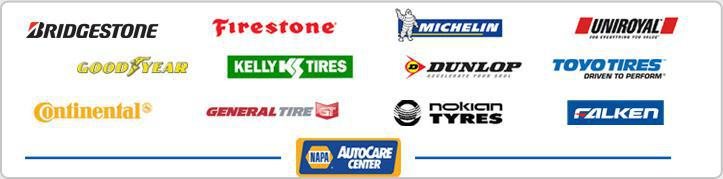 We carry products from Bridgestone, Firestone, Michelin®, Uniroyal®, Goodyear, Kelly Tires, Dunlop, Toyo Tires, Continental, General Tire, Nokian Tyres, and Falken. We are a NAPA AutoCare Center.