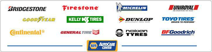 We carry products from Bridgestone, Firestone, Michelin®, Uniroyal®, Goodyear, Kelly Tires, Dunlop, Toyo Tires, Continental, General Tire, Nokian Tyres, and BFGoodrich®. We are a NAPA AutoCare Center.