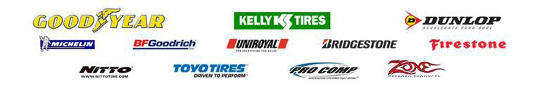 We proudly carry Goodyear, Kelly, Dunlop, Michelin®, BFGoodrich®, Uniroyal®, Bridgestone, Firestone, Nitto, Toyo, Pro Comp, and Zone.