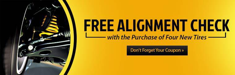 Get a free alignment check with the purchase of four new tires! Click here to print the coupon.
