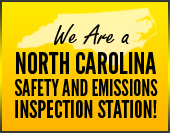 We are a North Carolina safety and emissions inspection station!