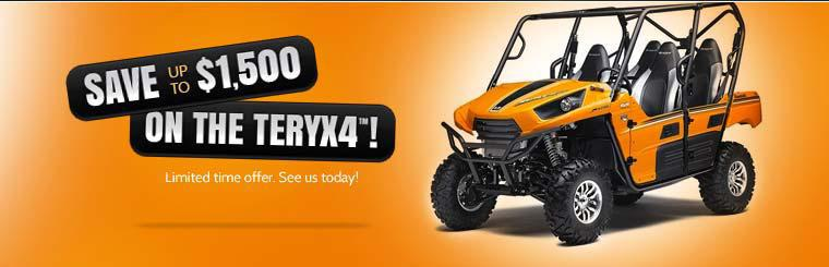 Save up to $1,500 on the 2014 Kawasaki Teryx4™ for a limited time!