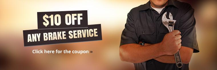 Get $10 off any brake service! Click here for the coupon.