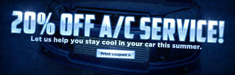 20% off A/C Service. Click here to print your coupon.