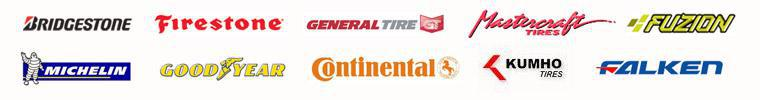 We carry Bridgestone, Firestone, General, Mastercraft, Fuzion, Michelin®, Goodyear, Continental, Kumho, and Falken products.