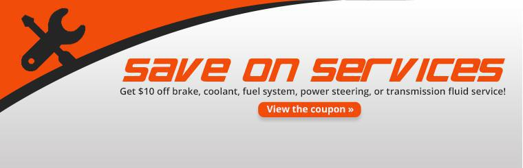Save $10 on brake, coolant, fuel system, power steering, or transmission fluid service! Click here for coupon details.