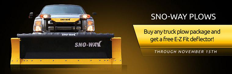 Sno-Way Plows: Buy any truck plow package and get a free E-Z Fit deflector! Contact us for details.
