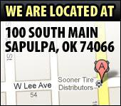We are located at 100 South Main, Sapulpa, OK 74066