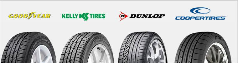 We carry products from Goodyear, Kelly, Dunlop, and Cooper.
