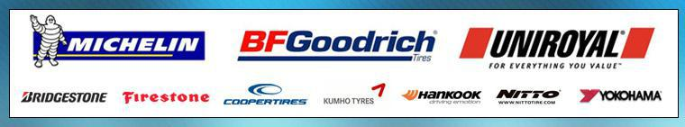 We carry top tires from Michelin®, BFGoodrich®, Uniroyal®, Bridgestone, Firestone, Cooper, Kumho, Hankook, Nitto, and Yokohama.