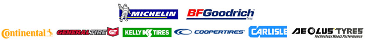 We carry products from Michelin®, BFGoodrich®, Continental, General, Kelly, Cooper, Carlisle, and Aeolus.