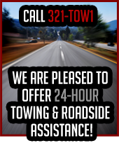 We are pleased to offer 24-hour towing & roadside assistance! Call 321-TOW1