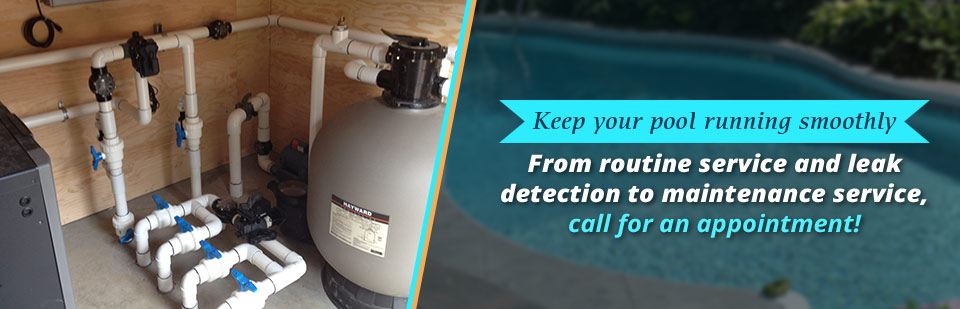Keep your pool running smoothly. From routine service and leak detection to maintenance service, call for an appointment!