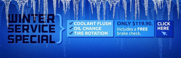 Receive a coolant flush, oil change, and tire rotation for just $119.90 with our Winter Service Special. This offer also includes a free brake check. Click here for the coupon.