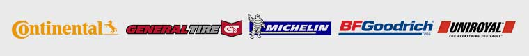 We carry products by Continental Tire, General Tire, Michelin®, BFGoodrich®, and Uniroyal®.