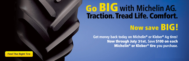 Stop in at Big Jim's Eastside Tire and Go Big and Save Big with Michelin AG tires