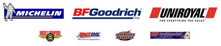 We carry products from Michelin®, BFGoodrich®, Uniroyal®, Mickey Thompson, AMSOIL, Interstate Batteries, and SP Performance.