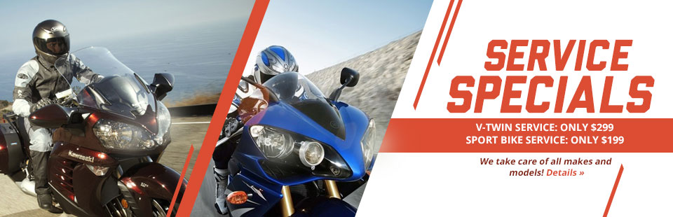 V-Twin and Sport Bike Service Specials: Click here for details.