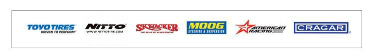 We proudly carry brands from Toyo, Nitto, SkyJacker, Moog, American Racing and Cragar.