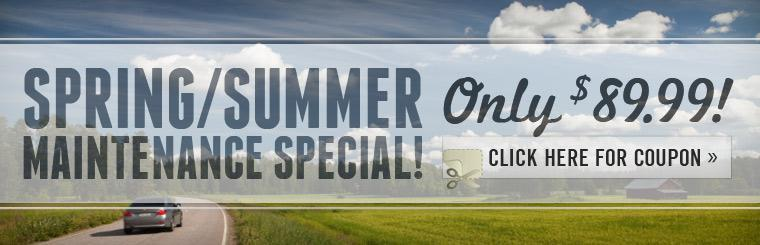 Spring/Summer maintenance special is only $89.99. Click here for the coupon.