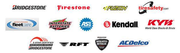 We carry products from Bridgestone, Firestone, Fuzion, Interstate Batteries, Kendall, KYB, RFT, and ACDelco. We are affiliated with tiresafety.com and FleetCare. We are ASE-Certified. We are Bridgestone 5 Star Certified and a Bridgestonet Affiliated Retailer.