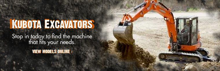Kubota Excavators: Stop in today to find the machine that fits your needs. Click here to view models online.