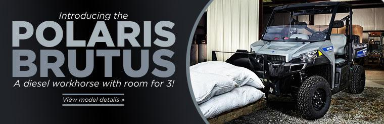 Introducing the Polaris BRUTUS: A diesel workhorse with room for 3 people! Click here to view model details.