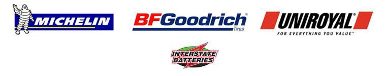 We carry products from Michelin®, BFGoodrich®, Uniroyal®, and Interstate Batteries.