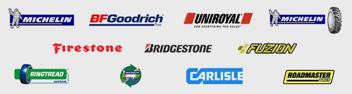 We carry products from Michelin®, BFGoodrich®, Uniroyal®, Michelin® Ag, Firestone, Bridgestone, Fuzion, Ringtread System, Michelin® Retread Technologies, Carlisle, and Roadmaster.