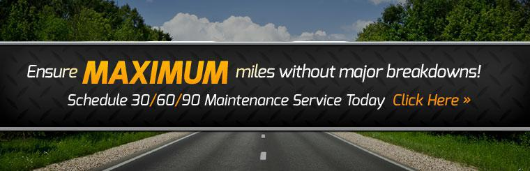 Request 30,000, 60,000, or 90,000 mile maintenance service online.