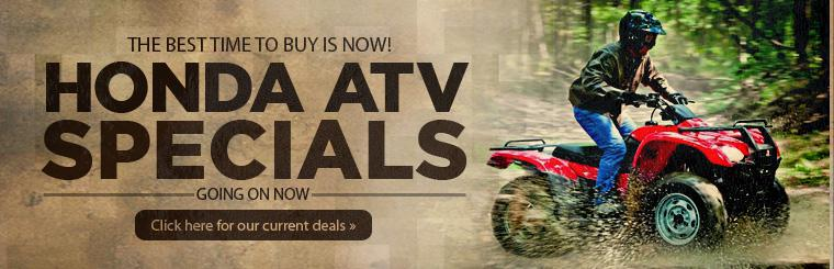 Honda ATV specials are going on now! The best time to buy is now! Click here to view current deals.