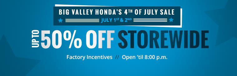 Join us July 1st and 2nd for Big Valley Honda's 4th of July Sale! Contact us for details.