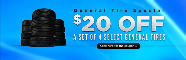 General Tire Special: Get $20 off a set of 4 select General tires! Click here for the coupon.