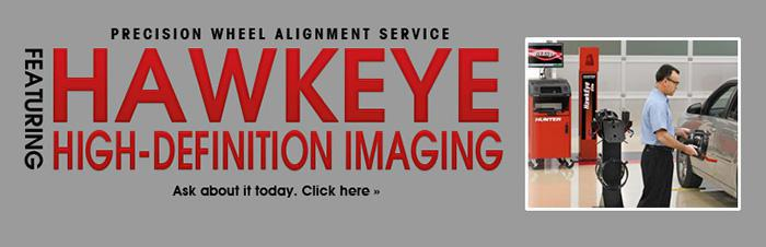 Precision wheel alignment service featuring Hawkeye High-Definition Imaging. Ask about it today.