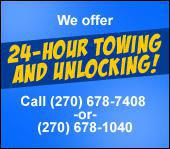 We offer 24-hour towing and unlocking! Call (270) 678-7408 or (270) 678-1040.