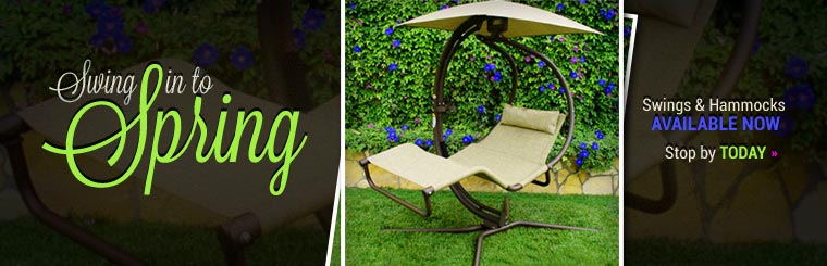 Swing in to Spring: We have swings and hammocks available now! Click here to contact us.