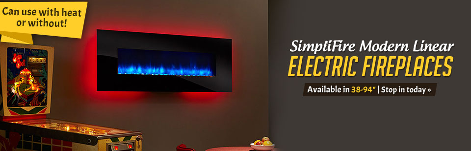 We carry SimpliFire modern linear electric fireplaces. Contact us for details.