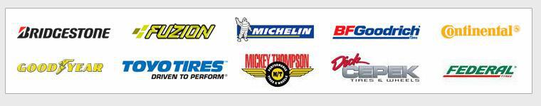 We proudly carry products from Bridgestone, Fuzion, Michelin®, BFGoodrich®, Continental, Goodyear, Toyo, Mickey Thompson, Dick Cepek, and Federal.