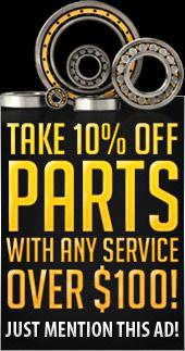 Take 10% off parts with any service over $100! Just mention this ad!