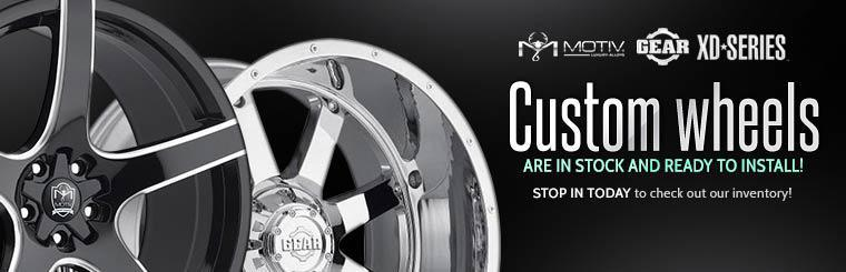 Custom wheels are in stock and ready to install! Stop in today to check out our inventory!