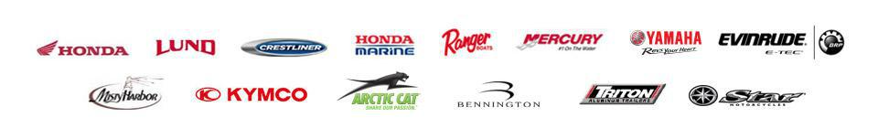 We carry products from Honda, Lund, Crestliner, Honda Marine, Ranger Boats, Mercury, Yamaha, Evinrude, Misty Harbor, KYMCO, Arctic Cat, Bennington, Triton Aluminum Trailers, and Star Motorcycles.