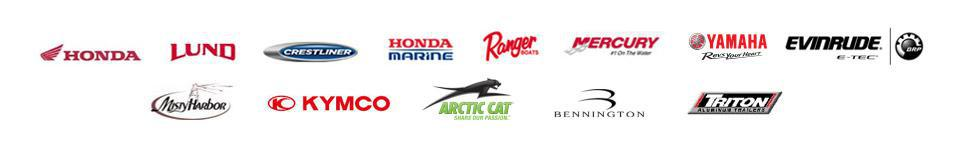 We carry products from Honda, Lund, Crestliner, Honda Marine, Ranger Boats, Mercury, Yamaha, Evinrude, Misty Harbor, KYMCO, Arctic Cat, Bennington, and Triton Aluminum Trailers.