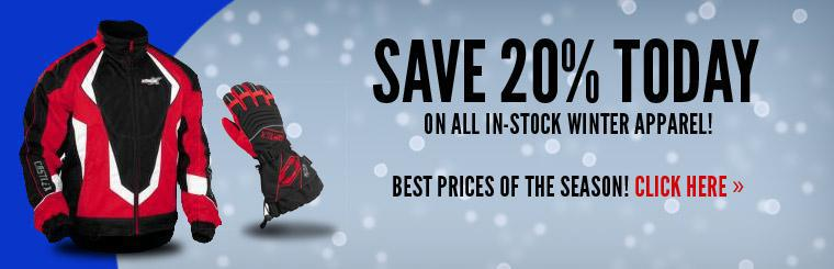Save 20% today on all in-stock winter apparel!