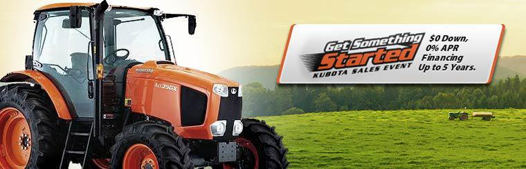 Get $0 down and 0% APR financing for up to 5 years during the Kubota Sales Event! Click here to view our inventory.