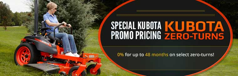 Special Kubota Promo Pricing: 0% for up to 48 months on select zero-turns!