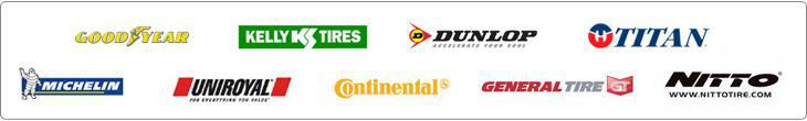 We carry Goodyear, Kelly, Dunlop, Titan, Michelin, Uniroyal, Continental, General, and Nitto products.